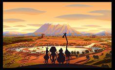 Madagascar 2 by Yoriko Ito. Marty, Alex, Gloria, and Melman. Dreamworks Movies, Dreamworks Animation, Cartoon Movies, Disney And Dreamworks, Disney Movies, Madagascar Escape 2 Africa, Madagascar Movie, Penguins Of Madagascar, Environment Sketch