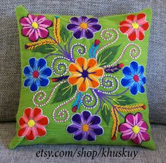 Floral pillow cover,Peruvian Pillow covers, Hand embroidered flowers pillow 16 x woven cushion, Apple Green boho pillow,hippie pillow Hand Embroidery Tutorial, Embroidery Stitches, Embroidery Patterns, Floral Pillows, Boho Pillows, Embroidered Cushions, Embroidered Flowers, Green Pillow Covers, Mexican Embroidery