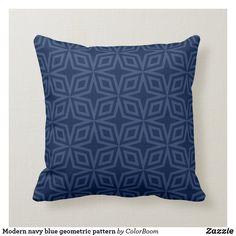 Modern navy blue geometric pattern throw pillow Navy Blue Bedrooms, Blue Living Room Decor, Blue Home Decor, Navy Blue Cushions, Navy Blue Throw Pillows, Personalized Pillows, Custom Pillows, Decorative Pillows, Living Room Cushions