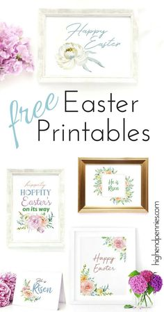 Super cute watercolor Easter printables. Happy Easter, He is Risen, Hippity Hoppity. Easter cards and home decor.
