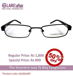 COSMOLINE HM4143 Black EYEGLASSES http://www.glareaffair.com/eyeglasses/cosmoline-hm4143-black-eyeglasses.html  Brand : COSMOLINE  Regular Price: Rs1,800 Special Price: Rs899  Discount : Rs901 (50%)