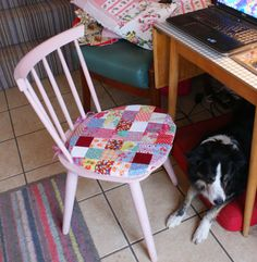 Pink-painted stickback retro chair with patchwork cushion. My favourite kitchen chair, with Misty under the table! Patchwork Cushion, Under The Table, Vintage Sheets, Kitchen Chairs, Cushion Pads, Love Painting, Painted Furniture, Sewing Projects, Cushions