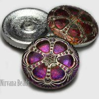 27mm Wheel-Czech Glass Buttons PE. Purple Vitral and Silver from Nirvana Beads (250 min.)