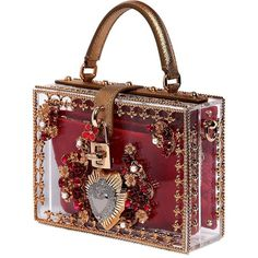 DOLCE & GABBANA Mini Sacred Heart Embellished Dolce Bag (€5.515) ❤ liked on Polyvore featuring bags, handbags, dolce gabbana handbags, heart shaped purse, embellished purse, embellished handbags and heart purse