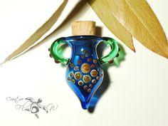 Blue Sci Fi Perfume Bottle Necklace Glass by CreativeFlowGlass #glass #borosilicate #jar #necklacejar #handmade #flameworked #perfectgift #blueglass #glassjewelry