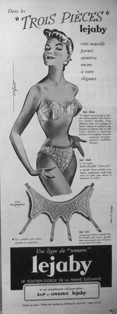 PUBLICITÉ 1957 LEJABY 3 PIÉCES SOUTIEN-GORGE DE LA FEMME ÉLÉGANTE - ADVERTISING | eBay