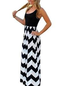 Aifer Womens Striped Zig Zag Chevron Print Sleeveless Tank Top Beach Long Maxi Dress *** Check out this great product.