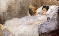 Portrait of Madame Hubbard: 1874 by Berthe Morisot (Ordrupgaard Collection, Copenhagen, Denmark) - Impressionism