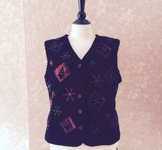 Talbots-Ugly-Christmas-Vest-Embroidered-Bead-Black-Red-Snowflake-Jumper-Womens-M