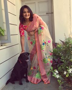 "Its always a nice feeling to enter s home where this black beauty ""Rani"" comes running to meet me.I happen to stop by for a bit and say hello! Indian Beauty Saree, Indian Sarees, Ethnic Fashion, Indian Fashion, Saree Fashion, Fashion Outfits, Indian Dresses, Indian Outfits, Floral Print Sarees"