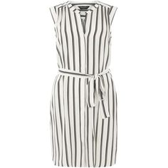 Dorothy Perkins stripe shirt dress ($49) ❤ liked on Polyvore featuring dresses, black, rayon dress, rayon shirt dress, shirt dress, striped dress and dorothy perkins dresses