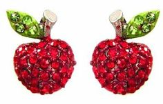 "Designer Inspired Adorable Red Sparkling Crystal Embellished Apple Stud 1/2"" Stud Earrings Earrings by Glamour Girl Gifts. $16.99. Comes packaged ready for gift-giving. Each earring is adorned with red Austrian crystals and green crystal accents. Silver rhodium plated. Lead and nickel safe. Earrings measure approx 1/2"" wide x just over 1/2"" tall"
