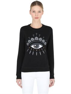 KENZO - EYE LIGHT BRUSHED COTTON SWEATSHIRT - BLACK