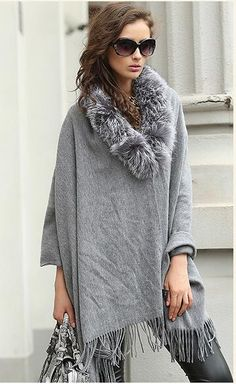 127bf05ce cashmere shawl with silver fox fur finishing.gray color.USD113 Winter Poncho,  Cashmere