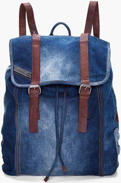 Diesel Indigo Denim Backpack