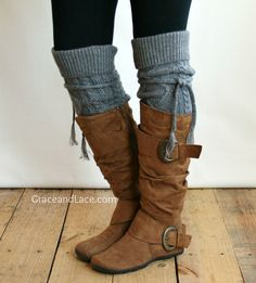 Alpine Thigh High Slouch Sock  Mid Grey thick by GraceandLaceCo, $39.00