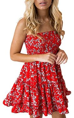 14.99 Women s Floral Strapless Pleated Flowy Skater Mini Tube Dress Other  categories include dresses for teens cf523badf