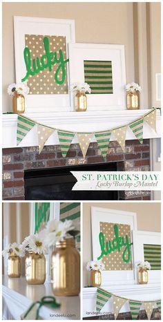 Patrick's Day Gold Green and Burlap Mantel Decor - DIY Tutorial St. Patrick's Day Gold Green and Burlap Mantel Decor - DIY Tutorial St Patrick's Day Crafts, Decor Crafts, Holiday Crafts, Holiday Fun, Crafts For Kids, Burlap Crafts, Decor Diy, Diy Crafts, Decor Ideas