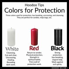 Hoodoo Candles - Colors For Protection Hoodoo Spells, Magick Spells, Candle Spells, Candle Magic, Wiccan Witch, Wiccan Protection Spells, Spell For Protection, Witchcraft Herbs, Beltane