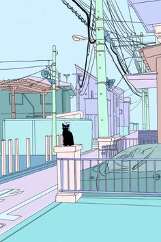 Cat. Also, the power lines and utility poles.