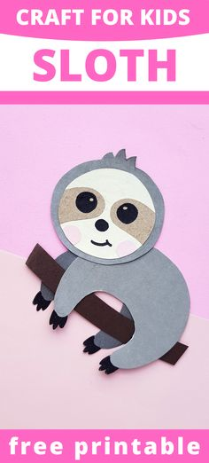 If you have sloth loving children, they'll love creating this fun sloth craft for kids. Simply print out the sloth craft template and follow the directions to create a fun sloth critter. Adorable Sloth Craft for Kids | Animal crafts for kids Paper Animal Crafts, Sea Animal Crafts, Animal Crafts For Kids, Paper Roll Crafts, Crafts For Kids To Make, Toddler Crafts, Animals For Kids, Art For Kids, Kids Zoo