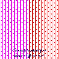 Free Valentines day paper crafting backing papers hearts and stripes from Crafty Ferret