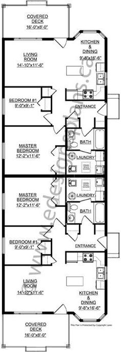 Main floor plan for d 542 duplex house plans narrow for Triplex plans for narrow lots