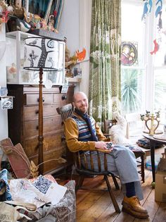 Love those curtains! And the chest of drawers and the lamp... | Artist Mark Herald