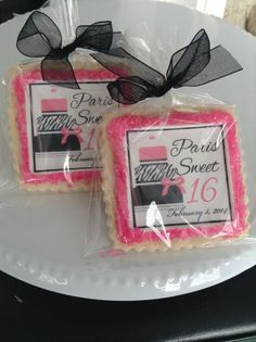 Sweet sixteen personalized cookie favors by StoneHouseOven on Etsy, $36.00