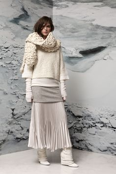 I know, knit not crochet -- but seriously, this collection is all interesting layered knits. Mega scarf, cropped sweater, arm warmers, AND leg warmers um I want to recreate this whole look RIGHT NOW. (Tess Giberson F15 RTW)