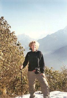 Carey Lovelace in Nepal climbing the Himalayan Mountains.