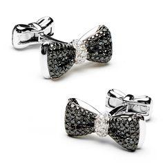 Black Diamond Bow Tie Cufflinks #AmericanGemSociety @Pinterest.com/amergemsociety/