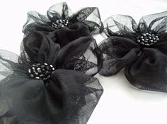 Black Flowers Handmade Appliques Embellishments3 by BizimSupplies, $12.00