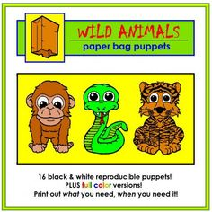 Wild Animal Paper Bag Puppets | Edworld Exchange | Where Educators Buy and Sell Resources