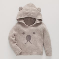 Bear Face Knitted Hoodie | The White Company