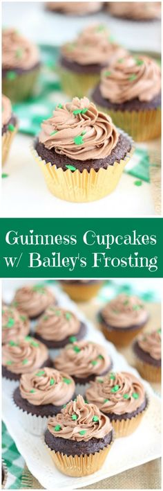 Guinness stout chocolate cupcakes, filled with chocolate ganache, and topped with chocolate and Bailey's frosting!