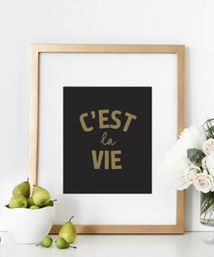 """A inspirational french fashion typography wall print perfect for home decor, girls room decor or as any wall decor. C'est la Vie means """""""" That's life"""""""". ★ PRODUCT SKU # DBM176★ Also available in blush"""