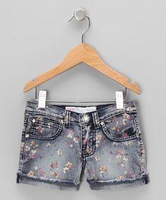 Distressed Black Floral Denim Shorts