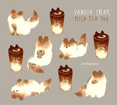 Thai Tea, Matcha, and Milk Tea Foxes     © 2016 Nadia Kim     *In Progress*                                                     Matcha Fox...
