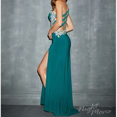 Prom Dress Night Moves by Allure Style 6669? Pine colored one shoulder prom dress. Recently bought, worn once. Night Moves Dresses Prom