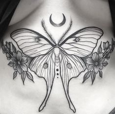 Cool Chest Tattoos, Chest Tattoos For Women, Body Art Tattoos, Small Tattoos, Cool Tattoos, Sternum Tattoos, Tatoos, Moth Tattoo Design, Tattoo Designs