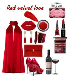 red velvet love by diva-at-spot on Polyvore featuring polyvore fashion style Galvan Christian Louboutin Alexander McQueen GUESS by Marciano McTeigue & McClelland Smashbox Lime Crime John Lewis NARS Cosmetics Gucci Manic Panic NYC Crate and Barrel clothing