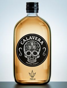 Calavera Tequila Bottle. This bottle design has great use of space. In spanish, 'calavera' means, skull. This is a very clean , self-explanatory logo. As far as marketing, my eyes are drawn to the bottle making me want to try their tequila.