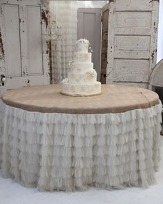 Couture Dreams Ivory Petal & Natural Jute Tablecloth 60 round  table linens.