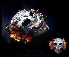 Day of the Dead Sugar Skull mask in polymer clay