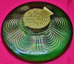 Gorgeous c1900 Austrian Loetz Iridescent Green Art Glass Bronze Inkwell Vase