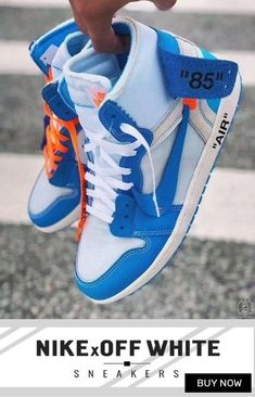 Order New Nike Off-White Air Jordan 1 Blue / OW shoes online Sneakers Mode, White Sneakers, Sneakers Fashion, Fashion Shoes, Shoes Online, Shoes Sneakers, Kd Shoes, Fashion Dresses, Nike Basketball