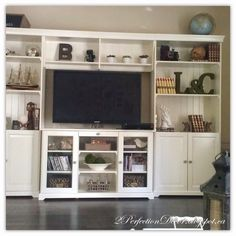 Our House 2 Final Reveal, home tour, ikea, liatorp bookcase, white bookshelves, media unit ideas, open shelving ideas, tv stand ideas, french country living, french country family room.