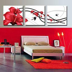 Reproducción en lienzo de arte floral y de los pájaros Juego de 3 – USD $ 59.99