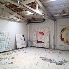 Rebecca Morris studio.  Source: http://instagram.com/p/YeCkGLwGxN/
